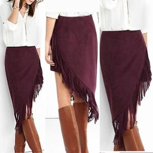 Express Fringe Asymmetrical Burgundy Skirt
